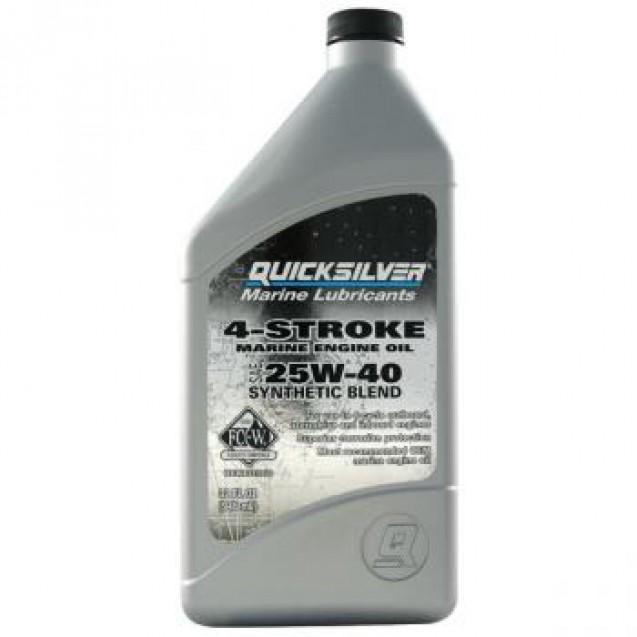 Моторное масло Quicksilver FC-W 25W-40 для 4-х тактных двигателей, синтетическое, 1 л